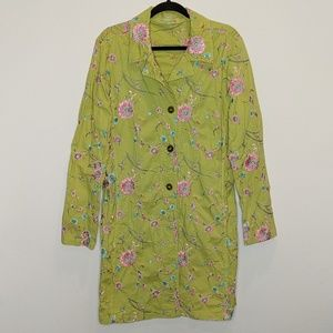 Johnny Was Green Floral Embroidered trench